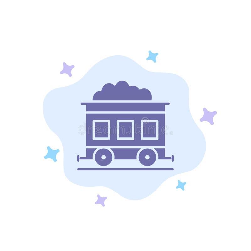 污染,火车,在抽象云彩背景的运输蓝色象 向量例证