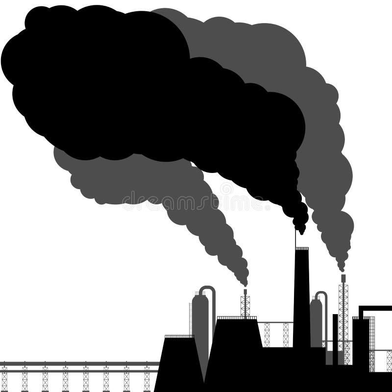 污染 黑色剪影 库存例证