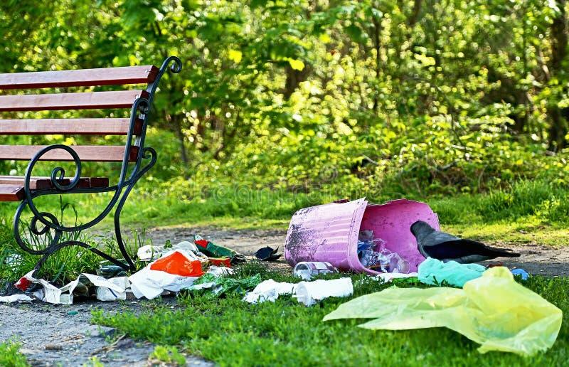 污染 转储环境森林垃圾问题 垃圾(垃圾)在长凳附近 免版税库存照片