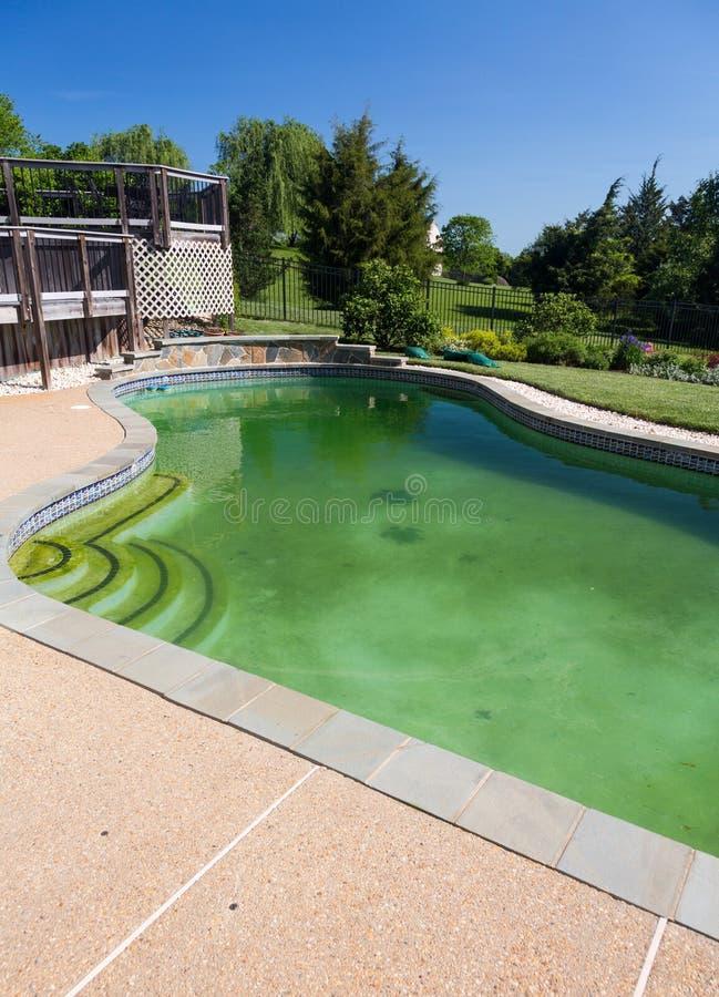 污浊的后院游泳池和露台 库存照片