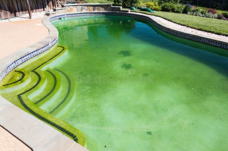 污浊的后院游泳池和露台 免版税图库摄影
