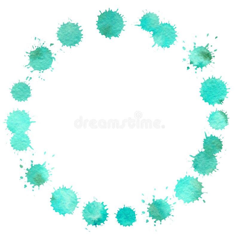 污点、郁金香和报春花圆的框架  与等高冲程的水彩图画在白色背景的 库存例证
