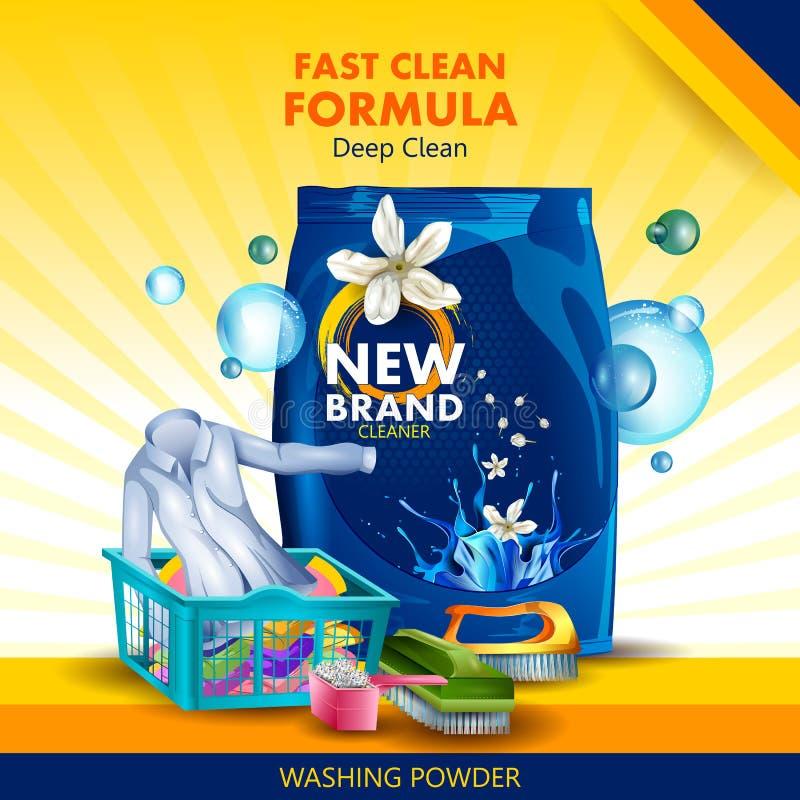 污点和土去膜剂广告横幅搽粉干净和新鲜的布料的洗涤剂 皇族释放例证