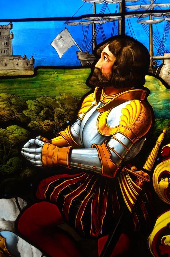 污点玻璃窗细节描述瓦斯科・达伽马的 库存图片
