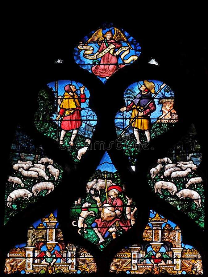 污迹玻璃窗在圣热尔韦和圣徒普罗泰教会,巴黎 库存照片