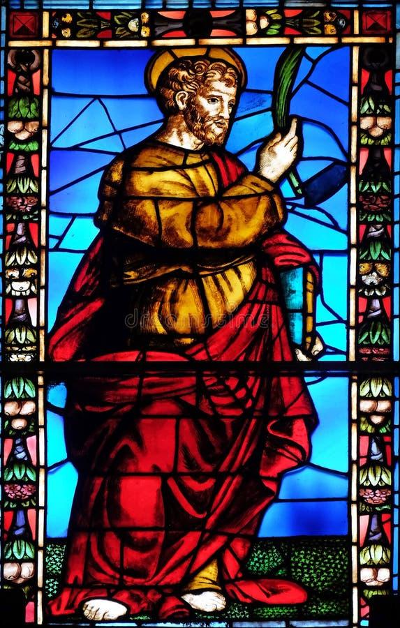 污迹玻璃窗在Santi保利诺e多纳托教会里在卢卡,意大利 库存照片