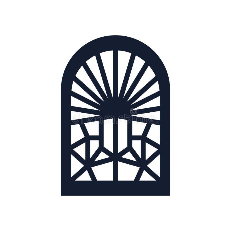 污迹玻璃窗象在白色背景和标志隔绝的传染媒介标志,污迹玻璃窗商标概念 向量例证