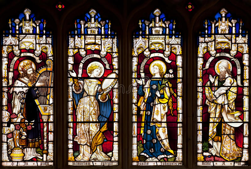 污迹玻璃窗在Wadham学院教堂,牛津,牛津郡,英国里 免版税库存图片