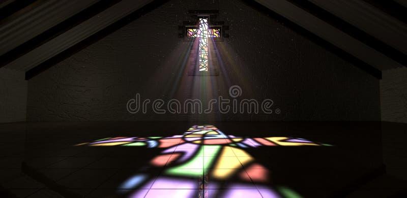 污迹玻璃窗耶稣受难象光线颜色 库存例证
