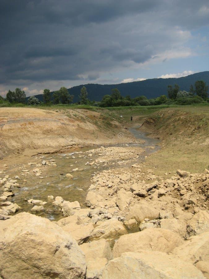 污水池在夏天,采尔克尼察湖 库存图片