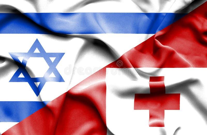 汤加和以色列的挥动的旗子 库存例证
