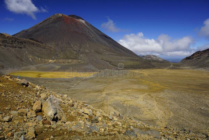 汤加里罗高山横穿在北部海岛新西兰 免版税库存图片