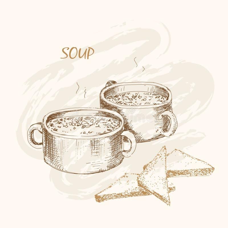 汤和面包 库存例证