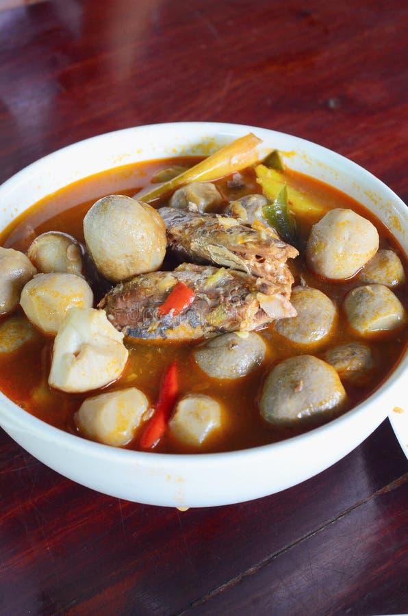 汤姆汤,泰国传统辣大虾汤 库存照片