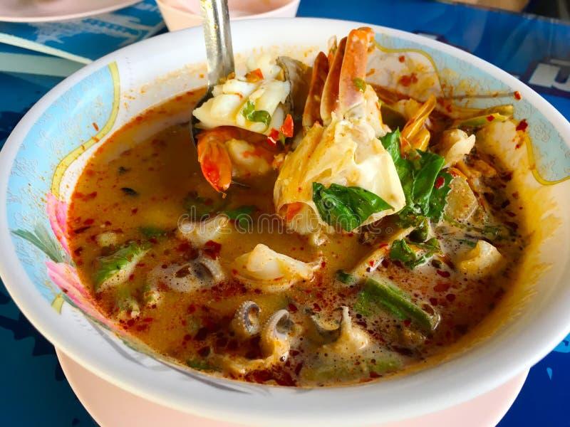 汤姆薯类海鲜辣泰国汤用虾、海鲜、椰奶和辣椒在碗 库存图片