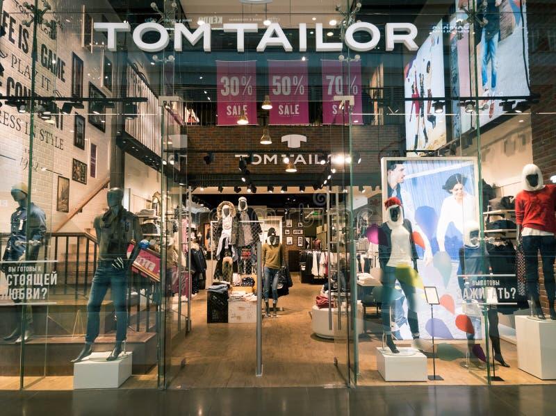 汤姆裁缝衣物在哥伦布购物中心的商店内部 免版税图库摄影