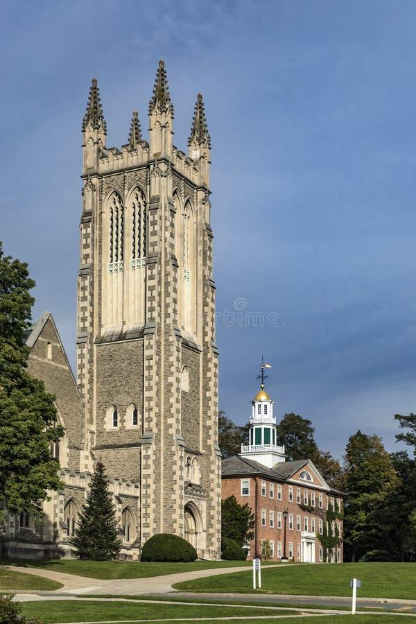 汤普森纪念教堂在Williamstown,伯克夏县,大量 免版税库存照片