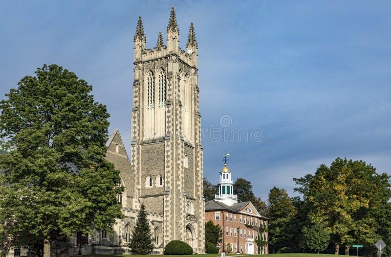 汤普森纪念教堂在Williamstown,伯克夏县,大量 库存照片