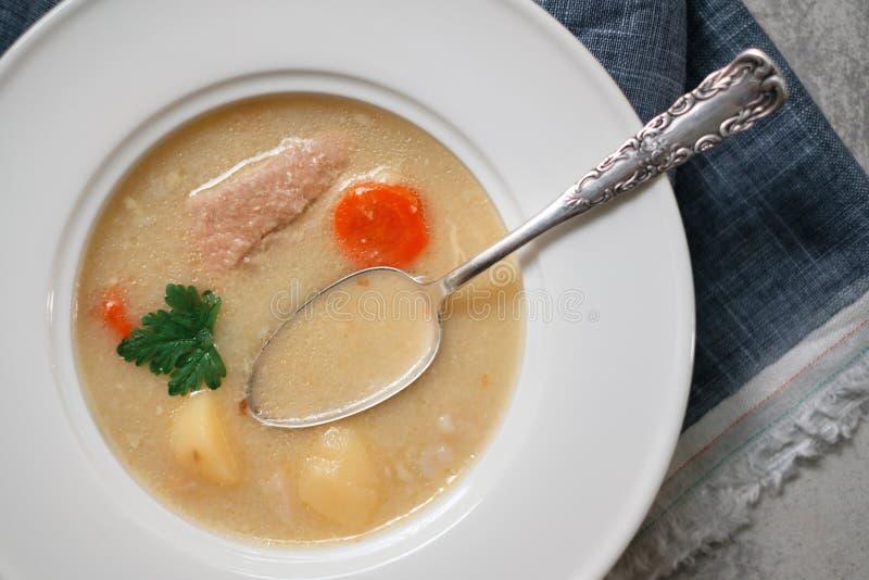 汤用土豆和猪肉 免版税库存照片
