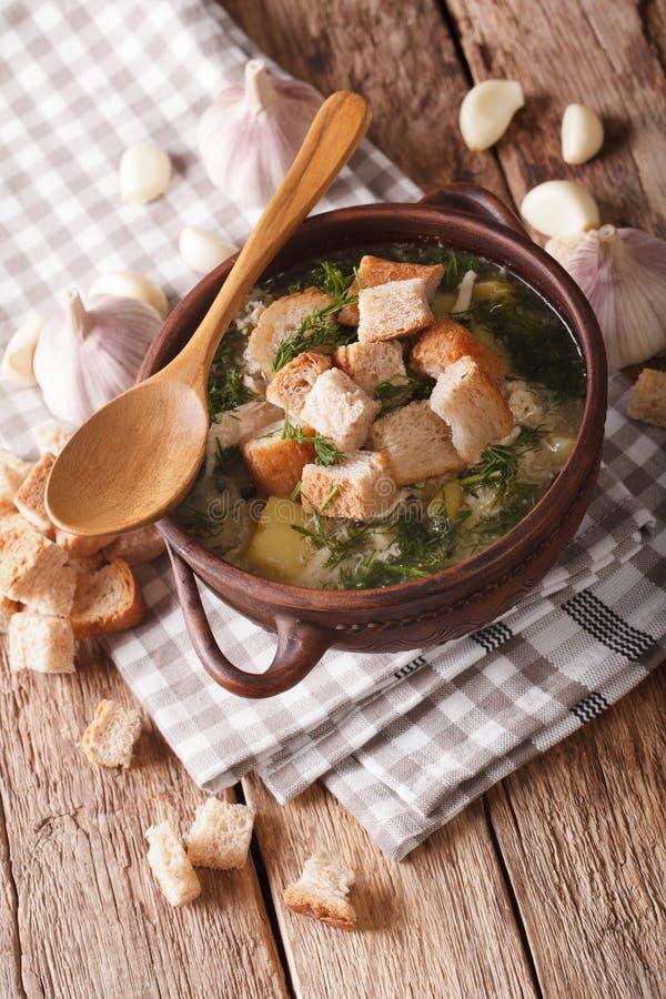 汤用大蒜和油煎方型小面包片特写镜头在一个土气样式 Vertic 免版税库存图片