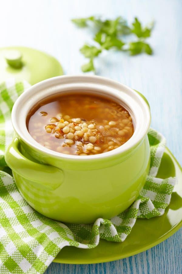 汤用红色小扁豆、面团和菜 图库摄影