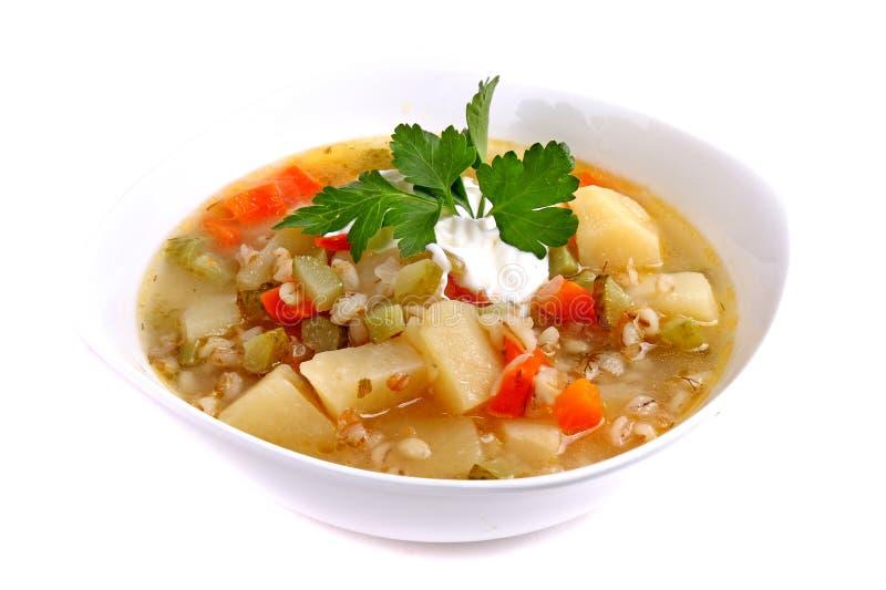 汤rassolnik用大麦米和酱瓜 免版税库存照片