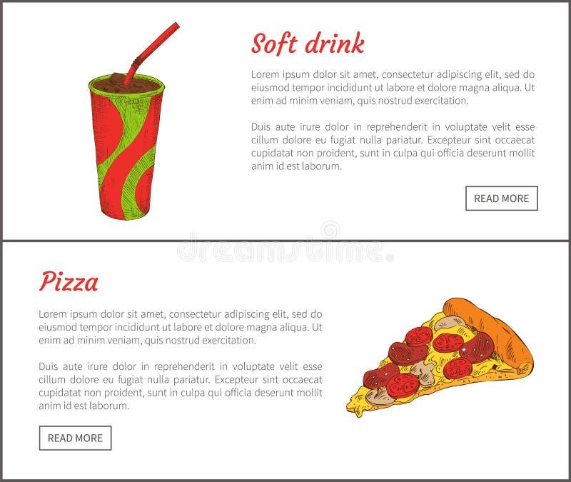 汽水和比萨切片传染媒介例证 库存例证