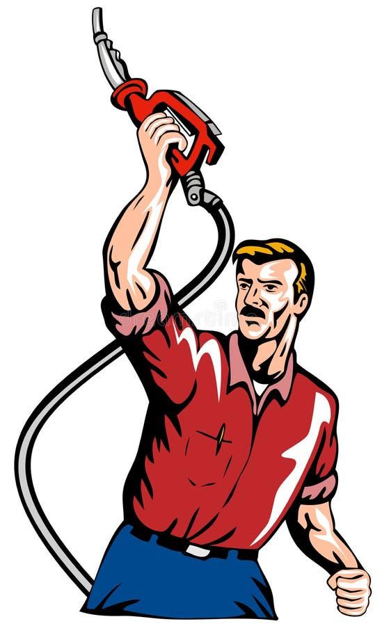 汽油人没有泵上升 库存例证