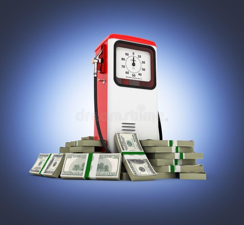 汽油价格减速火箭的燃油泵的100美元财务资助概念围拢的减速火箭的燃油泵在金钱的美国美元 皇族释放例证