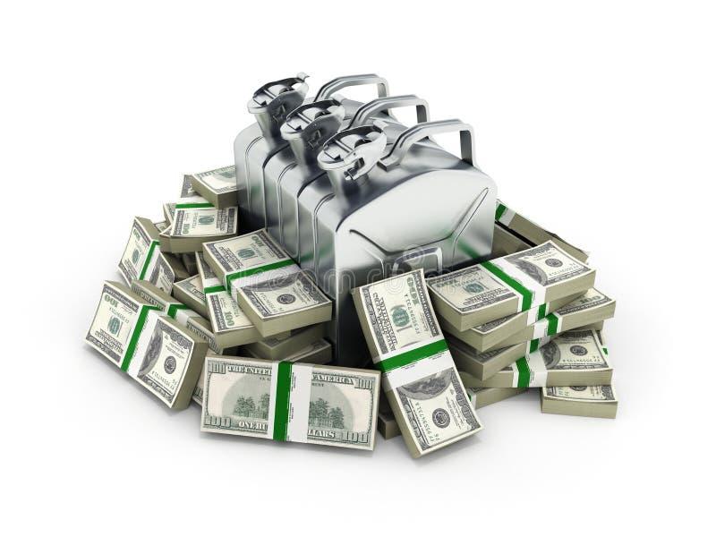 汽油价格的100美元财务资助概念围拢的气体罐供气在金钱的罐美国美金 皇族释放例证