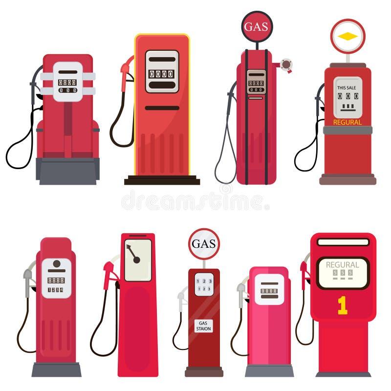 汽油分配器在白色背景隔绝的加油站集合 库存例证