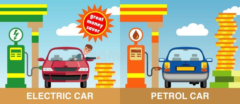 汽油和电加油的两辆汽车 库存照片