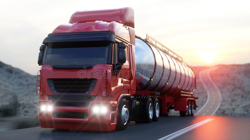 汽油罐车,油拖车,在高速公路的卡车 非常快速驾驶 3d翻译 皇族释放例证