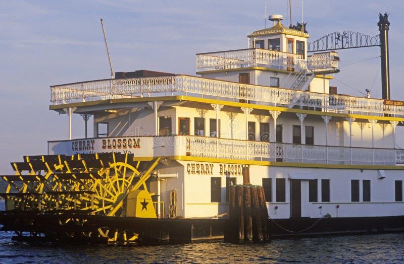 汽船在亚历山大小游艇船坞靠了码头在老镇亚历山大,华盛顿特区, 免版税库存图片