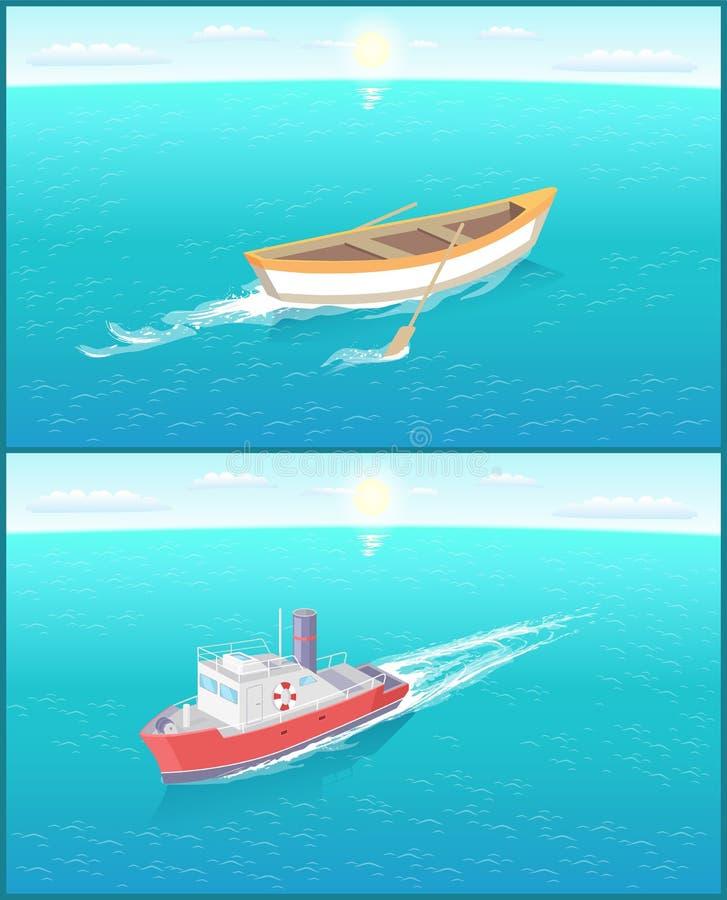 汽船海洋运输船和渔场小船 向量例证