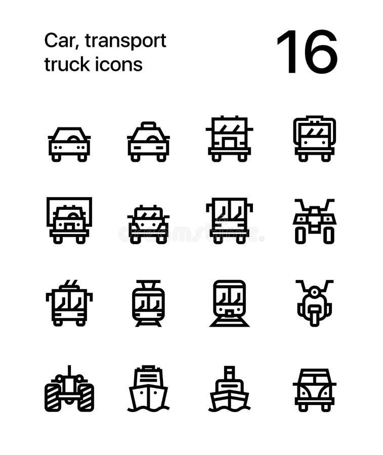 汽车、运输、车、卡车、火车传染媒介平的线象网的和流动应用 库存例证