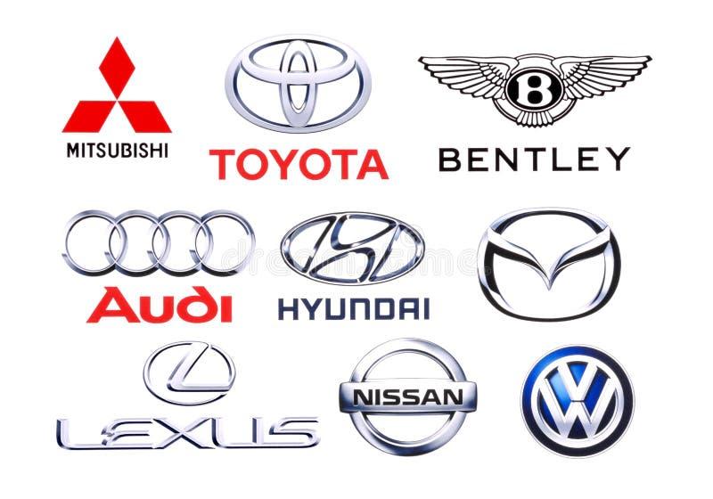 汽车不同的品牌的商标汇集  库存图片