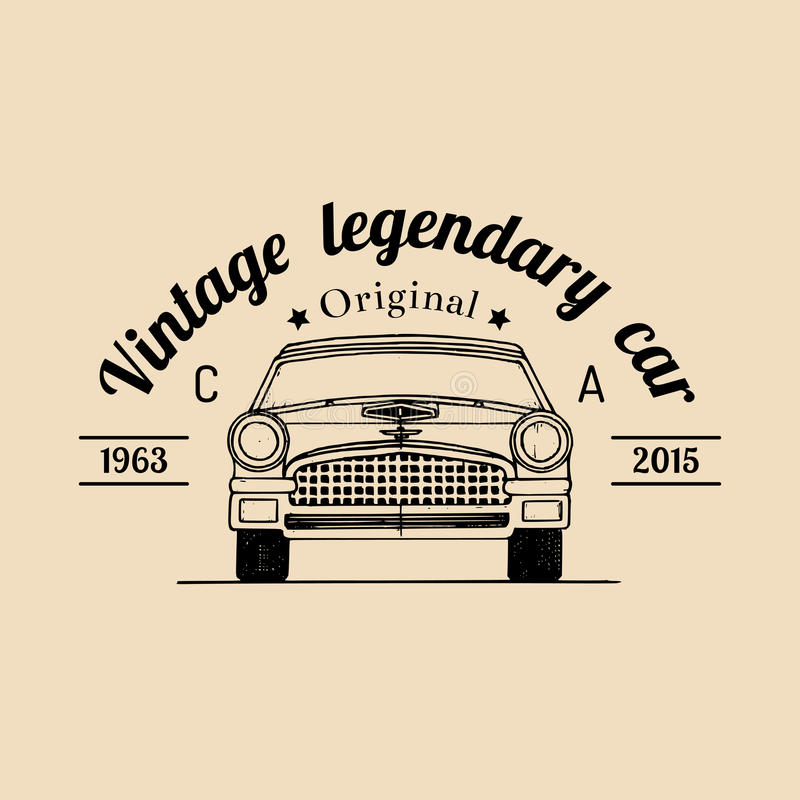 汽车与减速火箭的汽车例证的修理商标 导航葡萄酒手拉的车库、自动服务广告海报,卡片等 库存例证