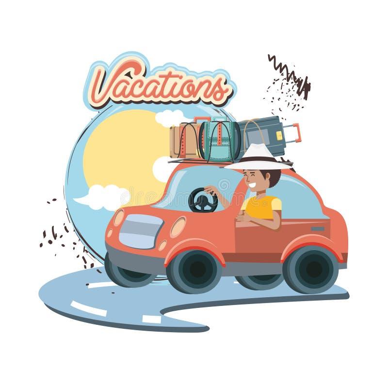 汽车与手提箱旅行假期 库存例证