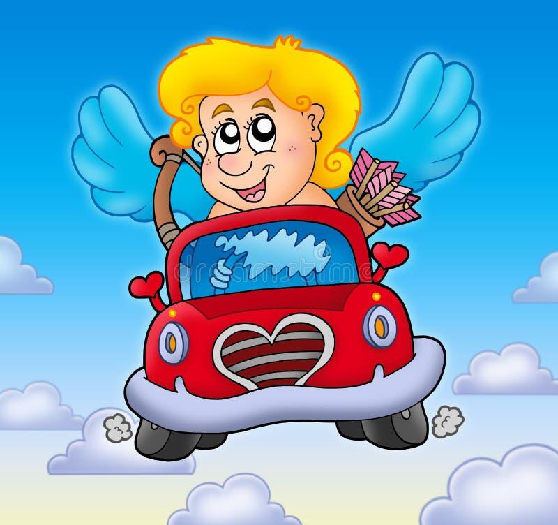 汽车丘比特红色天空 向量例证