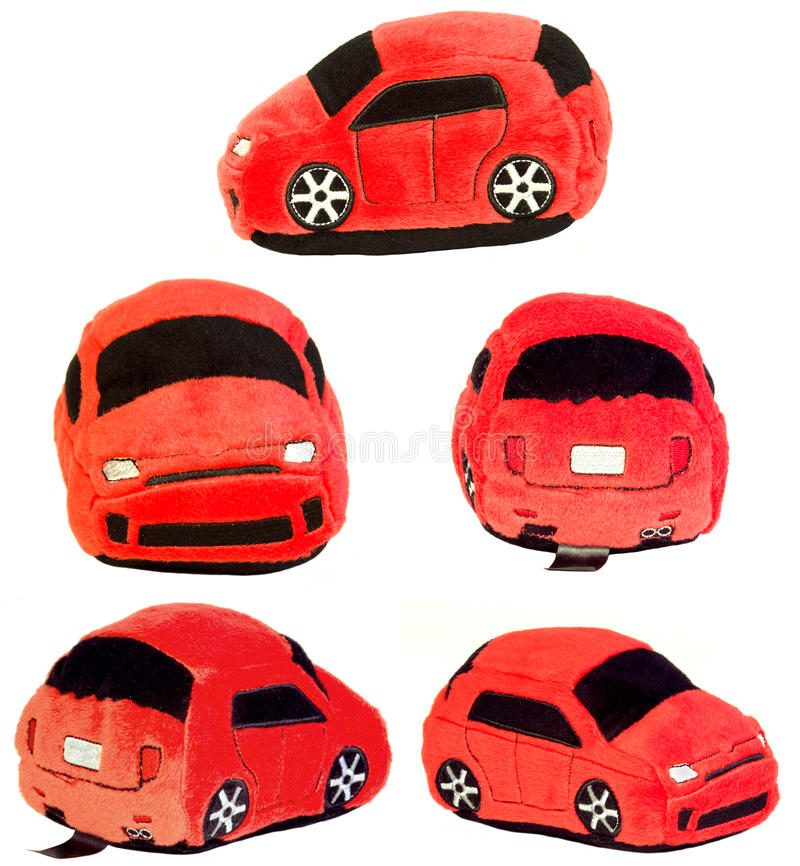 汽车五同样被充塞的玩具视图 免版税库存照片