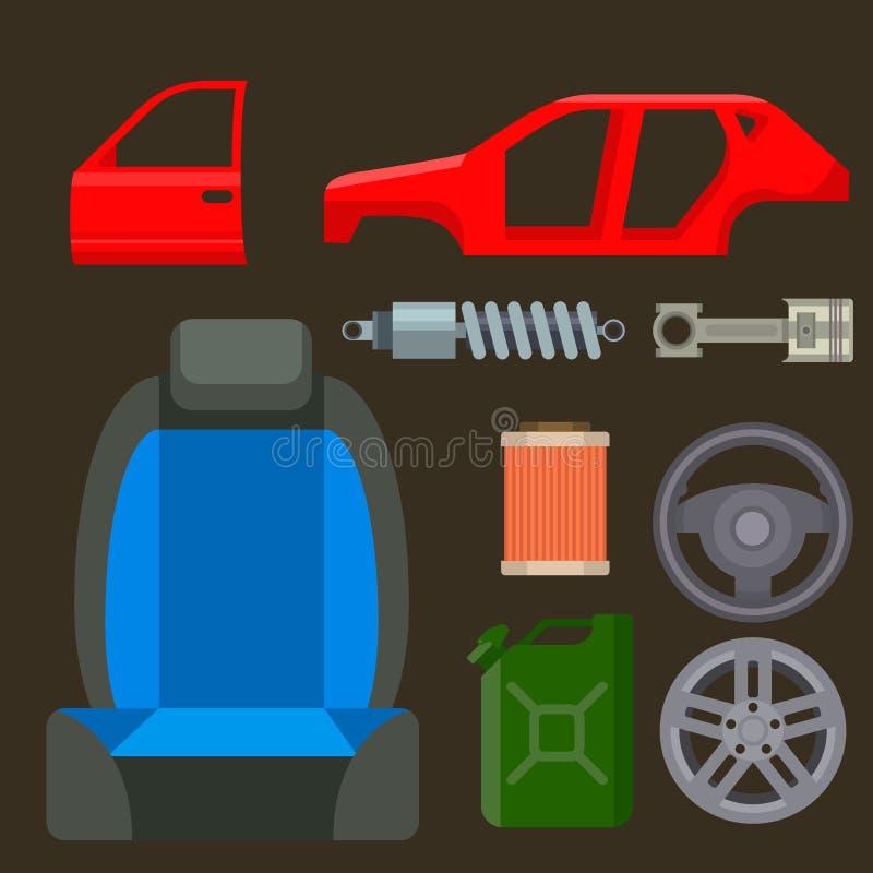 汽车传染媒介分开汽车修理服务车机器和设备motocar例证技工修理  库存例证