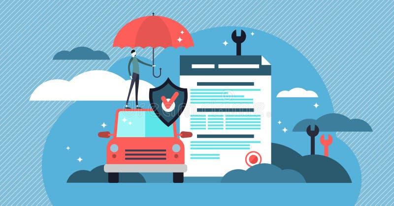 汽车保险传染媒介例证 有协议和伞的风格化汽车 库存例证