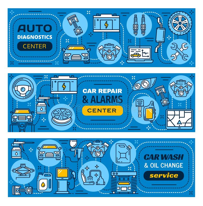 汽车修理、洗涤、警报和维修业务 库存例证