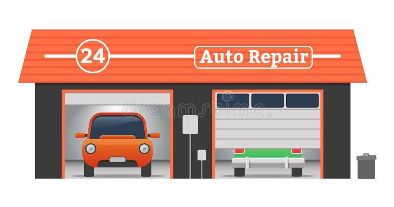 汽车修理传染媒介车库概念 免版税库存图片