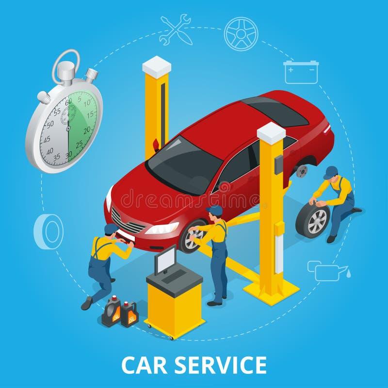 汽车修理公司中心 轮胎与商店汽车修理机械工的提供清洁服务或膳食的公寓集合 库存例证