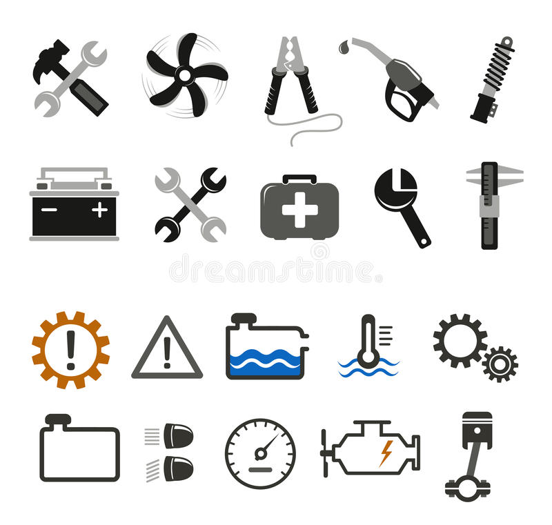 汽车修理师和服务图标 库存例证
