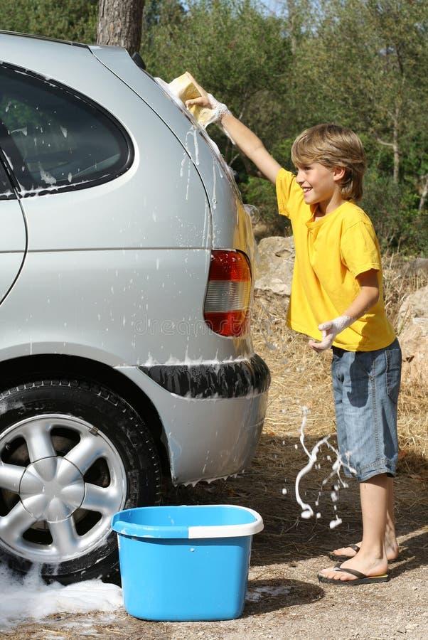 汽车儿童洗涤 免版税库存图片