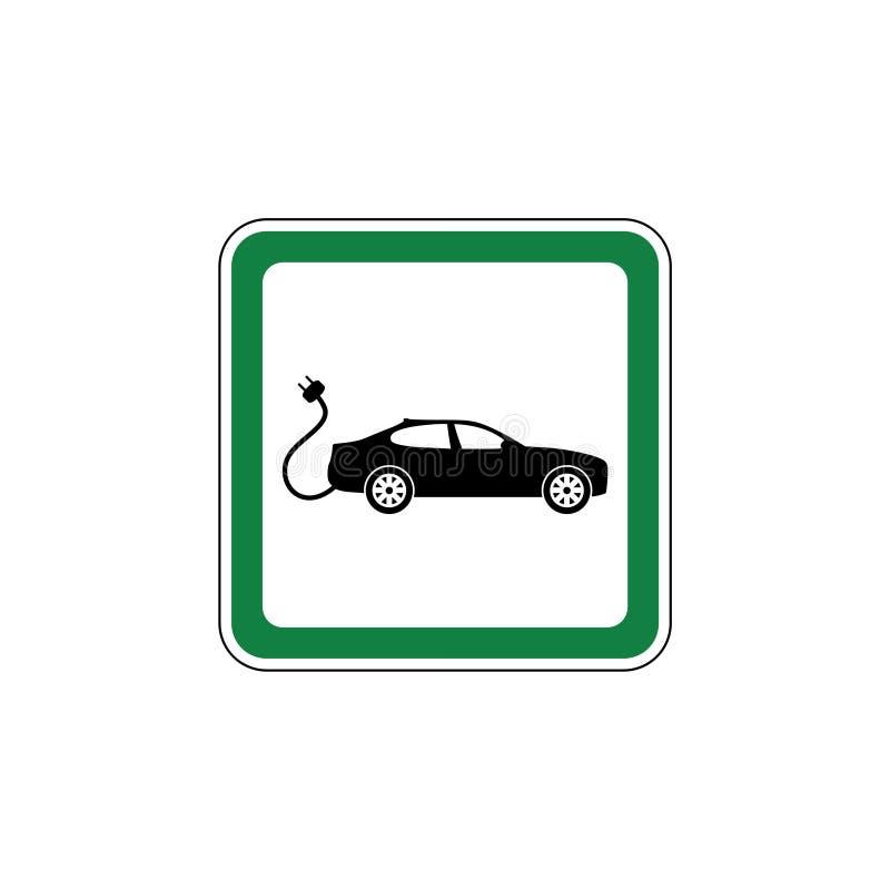 汽车充电站的绿色路标 库存例证