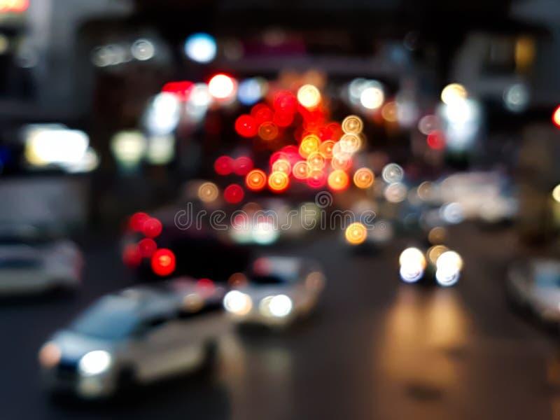 汽车光Bokeh在交通堵塞的在路 库存图片